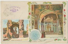 Litho Terme Di Caracalla / San Paolo Int. 1900 A. Sertoli Vers Hesdin Pas De Calais Roma Ferrovia - Autres