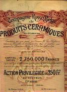 Cie Russo-belge De Produits Céramiques SA – Action Privilégiée De 250 Fr (1898) - Siège Social : BRUXELLES - Russie
