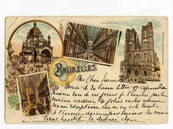 A 19936  -  Bruxelles En 1899 - Galeries St-Hubert, Eglise Ste Marie, Cathédrale De Ste-Gudule  -  Litho  -  Art Nouveau - Monuments