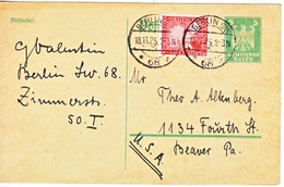 GERMANY  POSTAL CARD  TO  USA - Covers & Documents