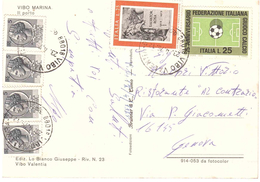 AFFRANCATURA MISTA VALORI GEMELLI CART. VIBO MARINA - 6. 1946-.. Repubblica