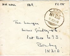 BRITISH  FORCES  MEF  COVER FPO 26 TO INDIA - 1902-1951 (Kings)
