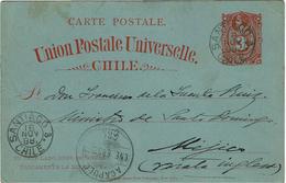 CTN49/1AM - CHILI CARTE POSTALE CIRCULEE DEPART NOVEMBRE 1888 ARRIVEE JANVIER 1889 - Chili