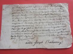 1785 Manuscrit Prêtre,Curé André J. Barbaroux Église Septémes Les Pennes Banlieue Marseille(Bourilly)Document Historique - Documents Historiques