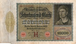 Billet  10 000  Mark 19 Janvier 1922  Serie A N° 5554519 - [ 3] 1918-1933 : République De Weimar