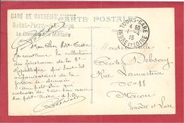 Y&T N°FM GARE DE RASSEMBLEMENT TOURS  Vers MACON   1915  3 SCANS - Marcofilia (sobres)