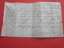 """Marseille 18 Mai 1819 Manuscrit Prêtre,Curé Martin Registre Des Baptêmes Église """" Marjuna ? """" Document Historique Lire - Historical Documents"""
