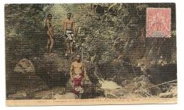 TAHITI CHASSEURS ET PECHEURS DE FEIS DANS LA VALLEE DU MALAO CPA618 - Tahiti