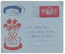 Grossbritannien, Air Letter, Aerogramme, Coronation 6D Nach USA 1953 - Luftpost & Aerogramme