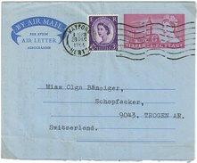 Grossbritannien, Air Letter, Aerogramme, 6D + Uprated  In Die Schweiz 1966 - Luftpost & Aerogramme