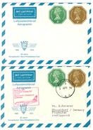 """Grossbritannien, Air Letter, Aerogramme, 2P + 4P,  1 X **  + 1 X Nach Deutschland 1974 M.Stempelfehler (""""1"""" Kopfstehend) - Luftpost & Aerogramme"""