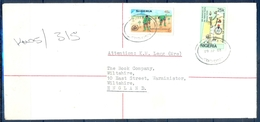 J164- Postal Used Cover. Posted From Nigeria To England. UK.  Plant. Tree. Youth. - Nigeria (1961-...)