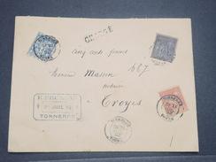 FRANCE - Enveloppe Commerciale En Chargé De Tonnerre Pour Troyes En 1892 , Affranchissement Sages Tricolore - L 8349 - Marcophilie (Lettres)