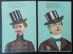 2 Cartes Illustrés CARICATURE Hommes - Humour