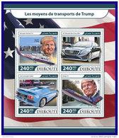 DJIBOUTI 2017 ** Trumps Transport Cars Autos Mercedes Lamborghini M/S - OFFICIAL ISSUE - DH1717 - Voitures