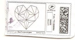 Vignette Mon Timbre En Ligne Lettre Suivie 100 G Origami Coeur 2017 - Stamps