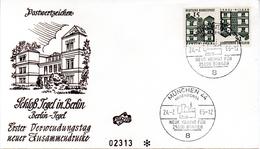 """BRD Schmuck-FDC Freimarken """"Deutsche Bauwerke """" Kehrdruck ZD Mi. K5 (455/455) ESSt. 24.2.1965 MÜNCHEN 44 - FDC: Briefe"""