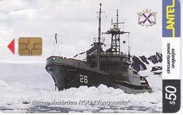 Nº 256 TARJETA DE URUGUAY DE UN BARCO (BUQUE ANTARTICO) SHIP (CHIP G4 NEGRO) - Uruguay