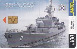 Nº 258 TARJETA DE URUGUAY DE LA FRAGATA ROU (BARCO-SHIP) (CHIP G4 NEGRO) - Uruguay