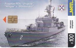 Nº 258 TARJETA DE URUGUAY DE LA FRAGATA ROU (BARCO-SHIP) (CHIP G5 ROJO) - Uruguay