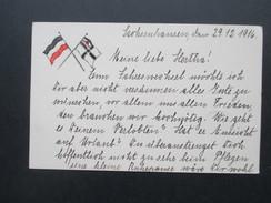 AK 1. WK 1916 Reichskriegsflagge Sachsenhausen. Feldpostkarte Frankiert Mit Germania! - Ausrüstung
