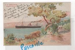 CP CIE GALE TRANSATLANTIQUE - PAQUEBOT EUGENE PEREIRE - LITHOGRAPHIE SIGNEE E. LESSIEUX - 1906 - Paquebots
