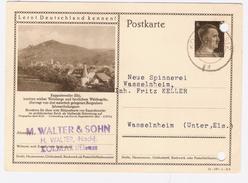 1942  Postkarte  HITLER  6  Sur Entier Postal Illustré LERNT DEUTSCHLAND KENNEN !  RAPPOLSWEILER   ELS    Voir 2 Scan - Entiers Postaux