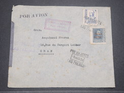 ESPAGNE - Enveloppe De Las Palma Par Avion Pour Oran En 1938 Avec Censure , Affranchissement Plaisant - L 8384 - Republikanische Zensur