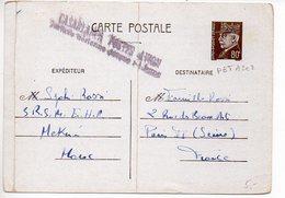 Entier Postal Carte 80c Pétain - Provenance Du Maroc Avec Griffe De Casablanca Postes Avion - Cartes Postales Types Et TSC (avant 1995)