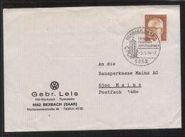 Bund - MiNr. 639 Als EF Auf Brief Mit Werbestempel BEXBACH, SAAR 9.5.1974 - Erholung Freizeit Ausstellungen - Briefe U. Dokumente