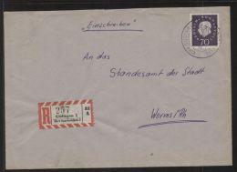 Bund - MiNr. 306 Als EF Auf R-Brief - Gelaufen GÜDINGEN über SAARBRÜCKEN, Um 1960 - Storia Postale