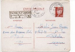Entier Postal Carte 1f20 Pétain - Cachet De Surtaxe Aérienne De Paris à 0f80 Pour Le Maroc - Standard Postcards & Stamped On Demand (before 1995)