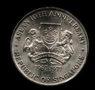 SINGAPORE 10 DOLLARS 1977 ASEAN 10TH ANNIVERSARY AG SILVER - Singapore