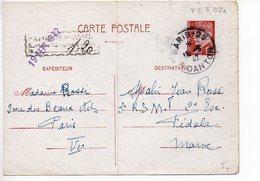 Entier Postal Carte 1f20 Pétain - Cachet De Surtaxe Aérienne De Paris à 1f20 Pour Le Maroc - Entiers Postaux
