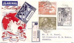 BARBADOS- 10 10 1949 FDC UPU Spedita Estero Con Raccomandata - U.P.U.