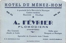 """PLOMODIERM  - Carte De Visite De L'Hôtel Du Ménez-Hom  - Maison """" A. Février """" - Cartes De Visite"""