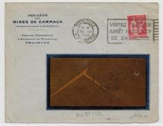 1933 - TYPE PAIX PERFORE CX Des MINES DE CARMAUX - ENVELOPPE De TOULOUSE (HTE GARONNE) - Gezähnt (Perforiert/Gezähnt)