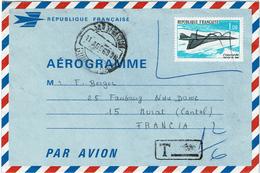 CTN49/4 - AEROGRAMME N°1 CONCORDE AU DEPART DE SAN SEBASTIAN  AOÛT1969 TAXE - Aérogrammes