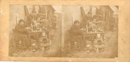 Photographie Stéréo, Petit Métier Inconnu, Chimiste De Rue ?, Cachet Van Genechten à Bruxelles, Vers 1870 - Stereoscopio