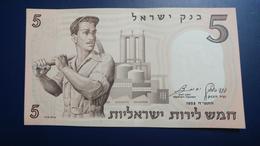 Israel-second Issue-(1958)5 Lira Labourer-(number Note-209291-2נ)-u.n.c - Israele
