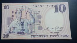 Israel-second Issue-(1958)10 Lira Sc Ien Ist-(number Note-213157-2ק-black Number)-u.n.c - Israele