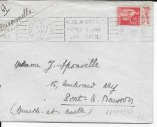 """1937 - TYPE PAIX Avec PUB """"BLEDINE POUR LE SEVRAGE"""" Sur LETTRE De PARIS Avec MECA  => PONT à MOUSSON - Advertising"""