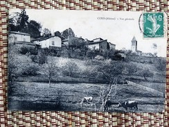C.P.A. 69 COURS ( Rhône) : Vue Générale, Vaches, En 1912 - Cours-la-Ville