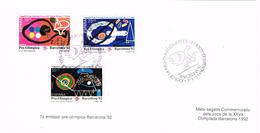 24552. Tarjeta Souvenir BARCELONA 1992. Olimpiadas, 7ª Emision Pre Olimpica, Num 3134-3136 - 1931-Hoy: 2ª República - ... Juan Carlos I