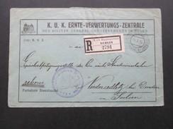 Österreich 1917 K.u.K. Ernte - Verwertungs - Zentrale. Etappenpostamt Lublin 2791. Telegraphenamt. Rekommandirt.Dienst - 1850-1918 Imperium