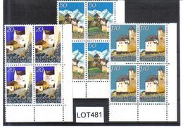 LOT481 LIECHTENSTEIN 1986 MICHL 896/98 ECKRAND-VIERERBLOCK ** Postfrisch - Liechtenstein