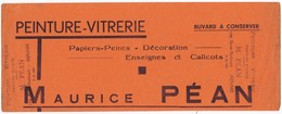 "Buvard Publicitaire Peinture-Vitrerie ""Maurice PEAN"" 179, Rue Nationale ARNAGE (72) - Pinturas"