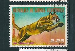 N° 108E Puma D' Amérique Du Nord TIMBRE Guinée équatoriale (1977) Oblitéré - Guinée Equatoriale