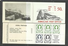 GIBRALTAR GIBILTERRA 1981 BOOLET CARNET LIBRETTO 50 P DEVINITIVES STAMPS NEW MOLE LOOKING SOUTH MNH - Gibilterra