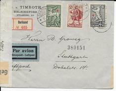 FINLANDE - 1942 - LETTRE RECOMMANDEE Par AVION Avec 2 CENSURES De BARÖSUND => STUTTGART - Lettres & Documents